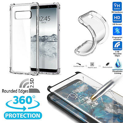 For Samsung Galaxy S9 Plus Note 9 8 Clear Case 2.5D Tempered Glass Impact Hybrid