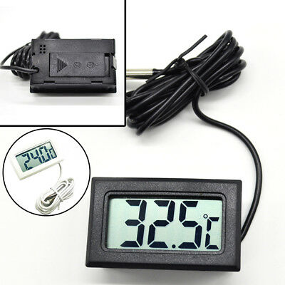 Temperature Thermometer Gauge w/Waterproof Probe LCD Tester Durable Universal