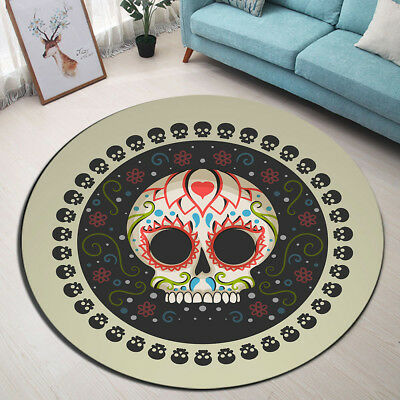 Round Carpet Gothic Boho Sugar Skull Home Decor Floor Yoga Mat Bedroom Area Rug