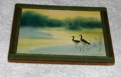 Vtg Wildlife Geese On River Marsh Wall Hanging Mounted Bird Print Signed Decker?