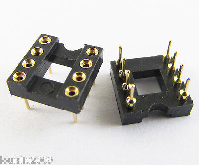 5pcs IC Socket Adapter 8 Pin Round  DIP High Quality Gold Pin