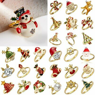 Adjustable Festive Gold Christmas Ring Santa Claus Deer Snowman Women Jewelry
