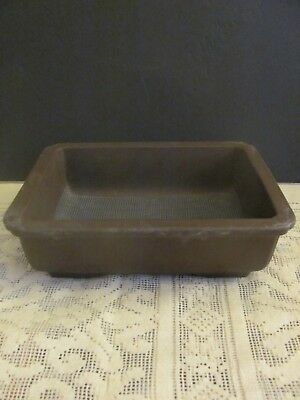 #135 Vintage Japanese Pottery Bonsai Pot Rectangle Brown Unglazed