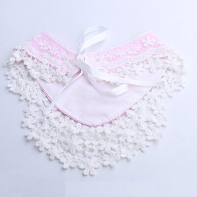 4 Colors Baby Girls Lace Overlay Spanish Style Romany Ribbon Tie Decor Bib Z