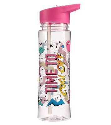 Time To Cool Off Gym 500Ml Plastic Water Sports Drinks Lunch Bottle With Straw