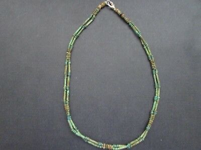 NILE  Ancient Egyptian Amulet Double Strand Faience Mummy Bead Necklace c1000 BC