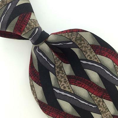 COCKTAIL COLLECTION CROSS LINKED STRIPES GRAY MAROON Silk Necktie I3-4 EUC Ties