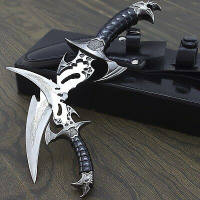 2 PIECE DRACO CLAW TWIN DAGGER FANTASY KNIFE SET w/ SHEATH Stainless Steel