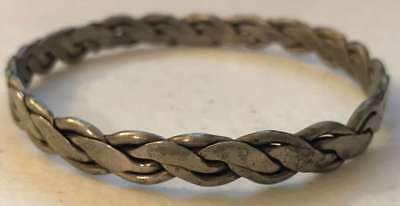 """6.25"""" Bangle Bracelet Multi Row Pressed Hard Chain Mexico 925 Sterling Silver"""