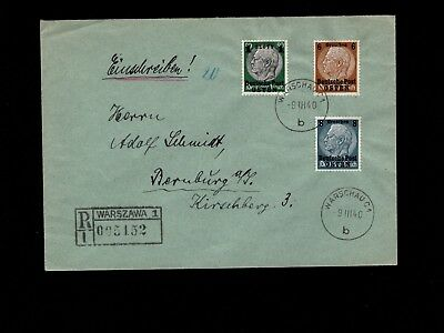 Germany General Government Registered Overprint Hindenburg Warsaw 1940 Cover 3k
