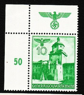 Germany WWII Occupied Poland 1940 Buildings Eagle Swastika # Selvage 10gr MNH K