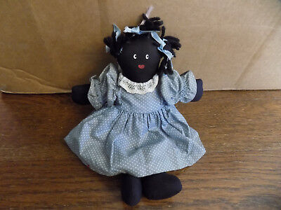 "Black Americana Primitive Rag Doll Cloth Folk Art  Braids 9 1/2"" heart smile"