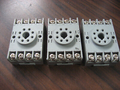 Lot of 3 Idec SR2P-06 Cube Relay Bases (8 Pin Round ) 10A, 300V