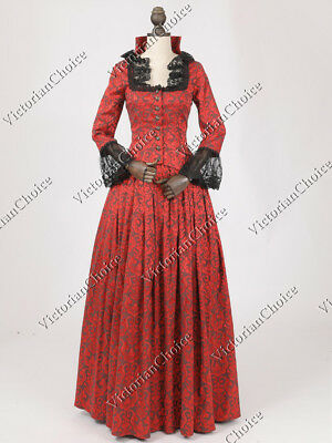 Victorian Edwardian Brocade Christmas Caroler Dress Carol Theater Costume CF006