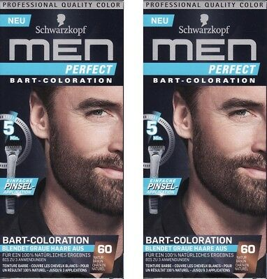 2x Schwarzkopf Men Perfect Bart - Coloration 60 Natur Braun Neu