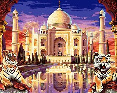 TAJ MAHAL TIGERS PAINTING PAINT BY NUMBERS CANVAS KIT 20 x 16 ins FRAMELESS