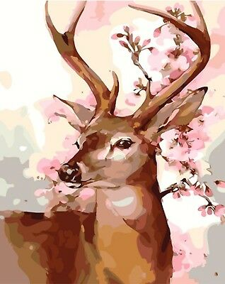 """STAG PORTRAIT ABSTRACT PAINTING PAINT BY NUMBERS CANVAS KIT 20"""" x 16""""  FRAMELESS"""