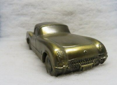1953 Chevy Corvette Convertible Bank with Music Box Brass Plated Cast Metal