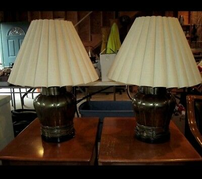 PAIR OF VTG FREDERICK COOPER LARGE MID CENTURY BRASS Table Lamps with shades