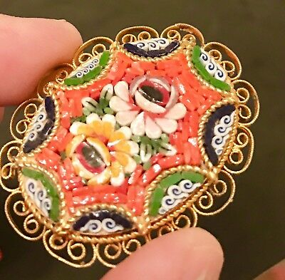 Vintage Micro Mosaic Gold Brooch Italian Antique Pin Estate Floral MicroMosaic
