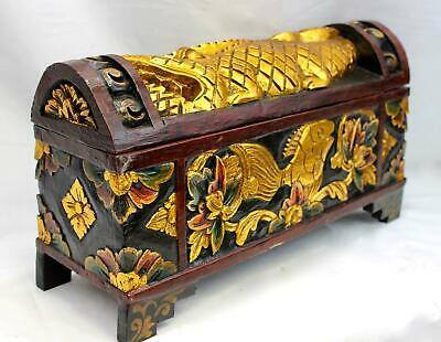 """Balinese DOWRY Wedding Offering BOX Chest Hand Carved Wood Bali Art 18""""L"""