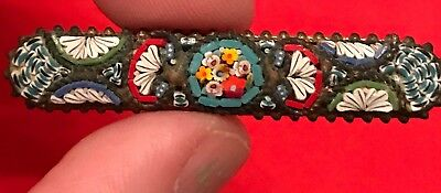 Vintage Micro Mosaic Silver Brooch Antique Bar Pin Estate MicroMosaic STAMPED