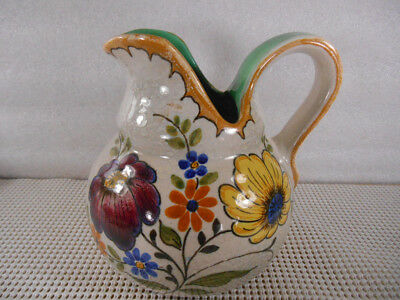 Vintage 2547 BERTINO ROYAL ZUIN HOLLAND GOUDA PITCHER Hand Painted Flowers 6x6""