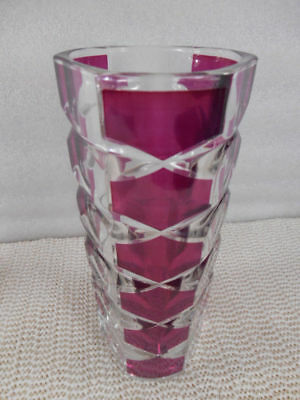 "J G DURAND France WINDSOR RUBIS Cranberry & Clear Crystal 6 3/4"" Vase 3 Sided"