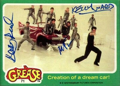 1978 Topps Card Grease Lightning Signed Barry Pearl Kelly Ward Michael Tucci Jsa