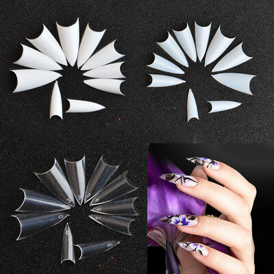 Clear Natural White Nail Tips Stiletto UV Gel False French Acrylic Art 500PCS