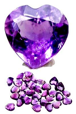 AMETHYST Faceted Heart HIGH GRADE Purple Quartz Crystal Gemstone AUTHENTIC