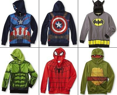 Boys Hoodie Jacket Size 10/12 L, 14/16 XL TMNT,Batman,Avengers Hood Mask Costume