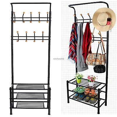 Homdox Garment Hat Coat Hanger Clothes Rack Shoe Shelf Organizer N4U8 01