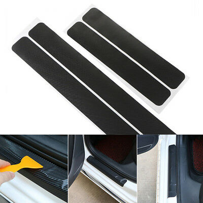 Black 3D Carbon Fiber Black Car Door Sill Scuff Plate Cover Anti Scratch Sticker