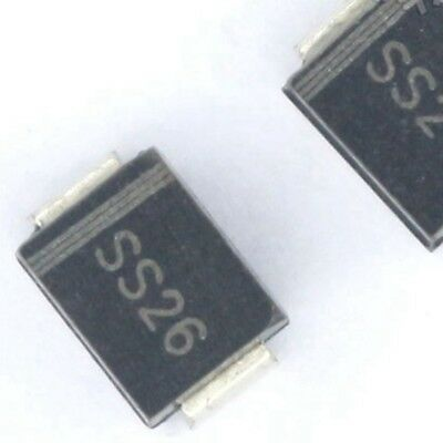 50PCS SS26 SK26 2A/60V SMB DO-214AA Schottky Diodes NEW