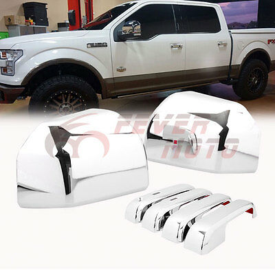 Chrome Side Mirror Cover+Door Handle w/Smart Hole Cover For Ford F-150 15-16 FM