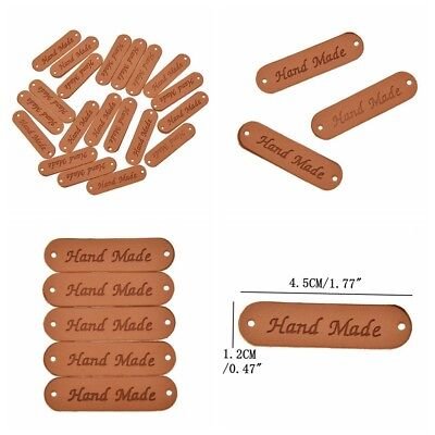 20Pcs Retro Brown Synthetic PU Leather DIY Sew Handmade Label Tags Craft Patch