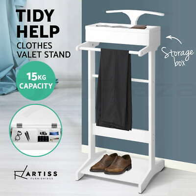 Artiss Valet Stand Clothes Rack Coat Hanger Garment Timber Shoe Storage Jacket