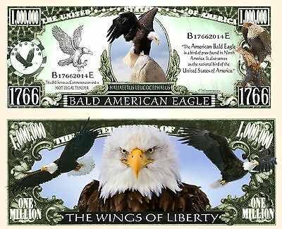 Bald Eagle Novelty Dollar Bill with Semi Rigid Protector and free shipping