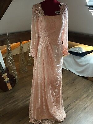 Evening Prom Dress Bridesmaid Party Ball Gown Size 14 Lace Lined