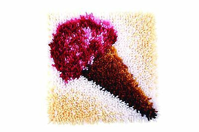 """Ice Cream Cone Latch Hook Kit 12x12"""" By Caron Wonderart. No Tool Included."""