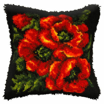 Poppies Latch Hook Cushion Front Kit. Orchidea, 40x40cm Printed canvas