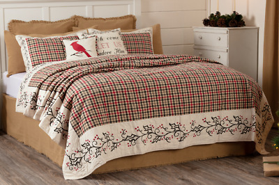 HOLLIS QUILT SET-choose size & accessories- Rustic Holly Berry Red VHC Brands