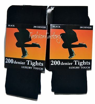 New Women Ladies Girls 200 Denier Foot Tights Warm Winter Soft Touch Soft BLACK