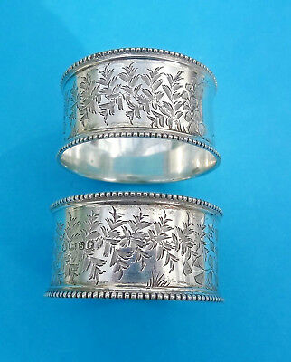 Pair Antique VICTORIAN STERLING SILVER NAPKIN RINGS -Sheffield 1885 -Atkin Bros