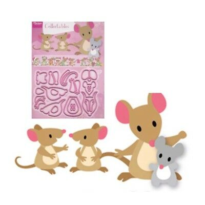 Eline's Mice Family Metal Die Cut Set Marianne Cutting Dies COL1437 Mouse Animal