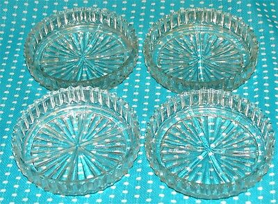 "4 Vtg Clear Glass Coaster Set Radiating Star Pattern 3 1/2"" Diameter 3/4"" Deep"
