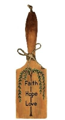 """wood Decorative Country Butter Paddle FAITH HOPE LOVE Kitchen Decor sign 10x3"""""""