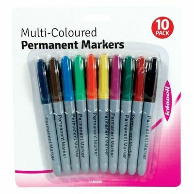 10 Pack Of Permanent Marker Pens Multi Assorted Colours Sharpie Fine Point Tip