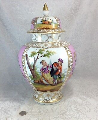 Meissen Augustus Rex Antique German Covered Jar Urn Couple Courting Flowers